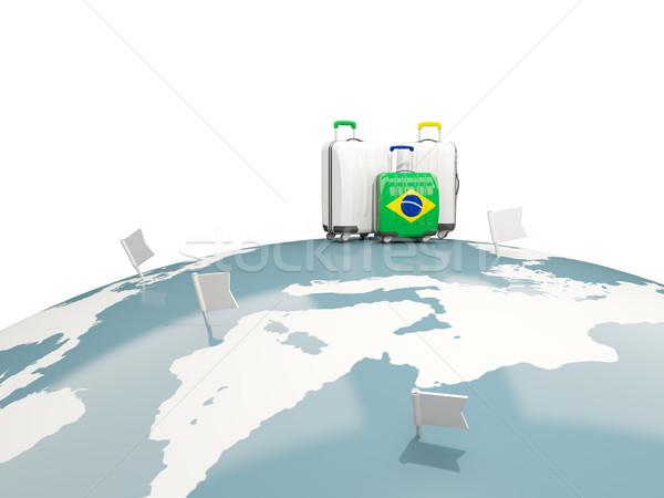 Bagaj bayrak üç çanta üst dünya Stok fotoğraf © MikhailMishchenko