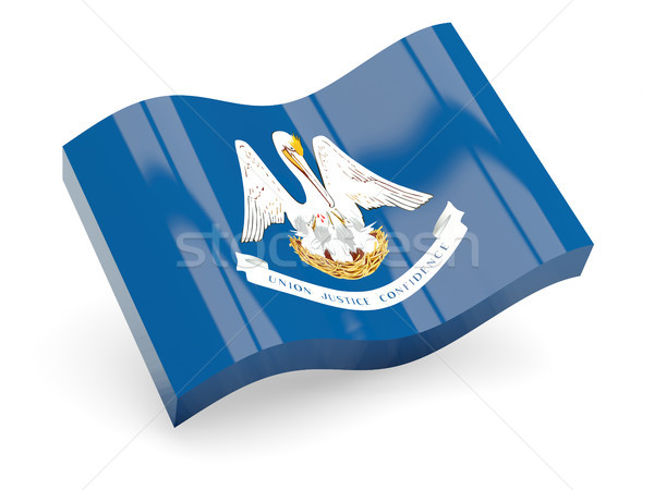 Flag of louisiana, US state wave icon Stock photo © MikhailMishchenko