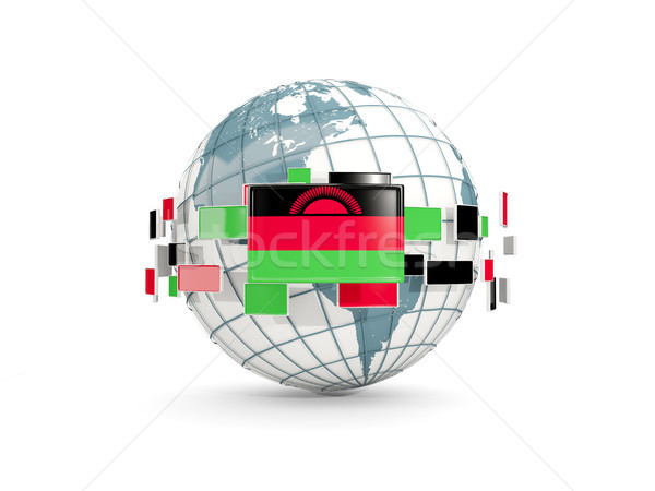 Globe with flag of malawi isolated on white Stock photo © MikhailMishchenko