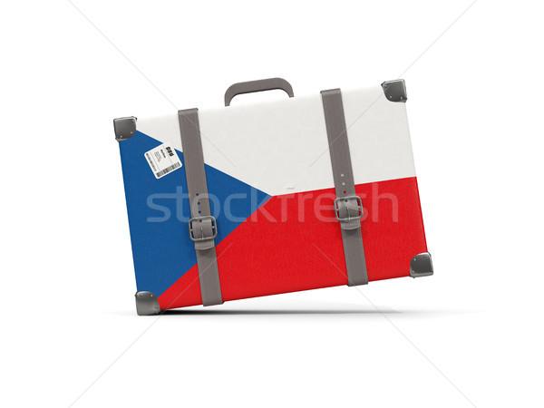 Luggage with flag of czech republic. Suitcase isolated on white Stock photo © MikhailMishchenko