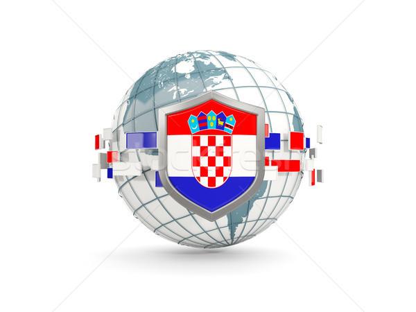 Mundo escudo bandera Croacia aislado blanco Foto stock © MikhailMishchenko