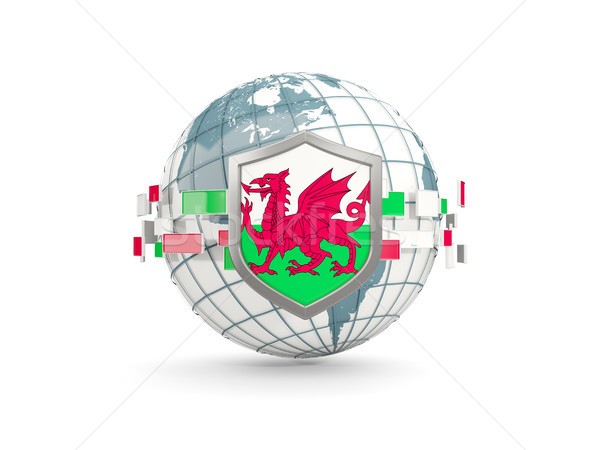 Globe and shield with flag of wales isolated on white Stock photo © MikhailMishchenko
