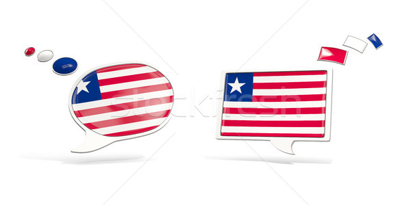 Dois conversar ícones bandeira Libéria praça Foto stock © MikhailMishchenko