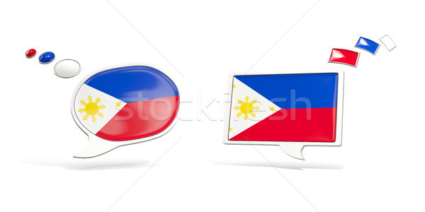 Dois conversar ícones bandeira Filipinas praça Foto stock © MikhailMishchenko