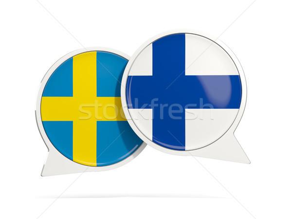Conversar bubbles Suécia Finlândia isolado branco Foto stock © MikhailMishchenko