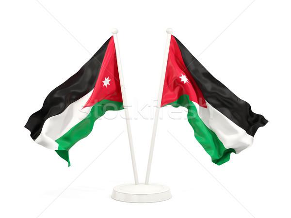 Dwa flagi Jordania odizolowany biały Zdjęcia stock © MikhailMishchenko