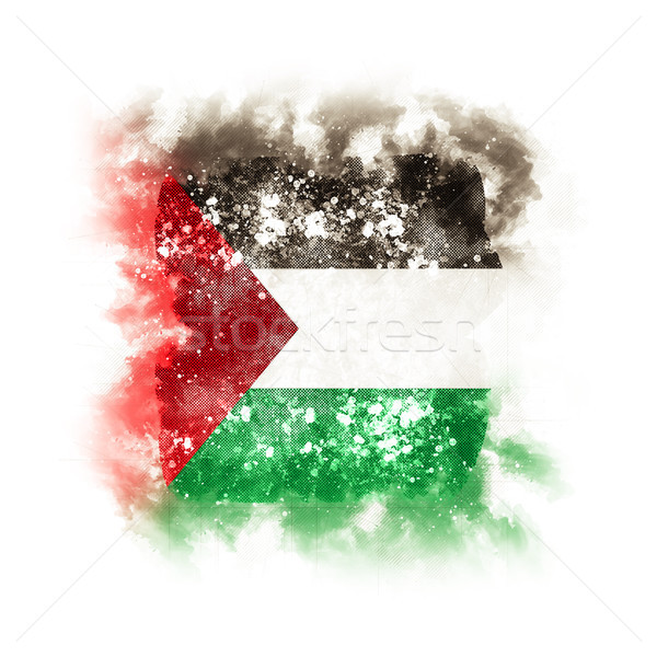 Square grunge flag of palestinian territory Stock photo © MikhailMishchenko