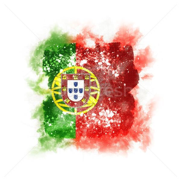 квадратный Гранж флаг Португалия 3d иллюстрации Vintage Сток-фото © MikhailMishchenko