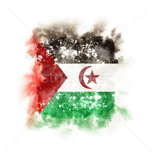 Vierkante grunge vlag westerse sahara 3d illustration Stockfoto © MikhailMishchenko