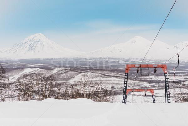 Stock photo: Winter mountain landscape with ski trail