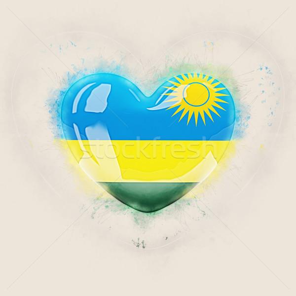 Coeur pavillon Rwanda grunge 3d illustration pays Photo stock © MikhailMishchenko