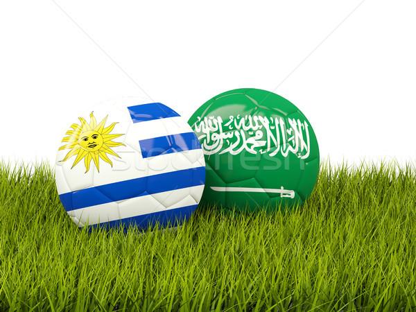 Uruguay vs Szaúd-Arábia futball zászlók zöld fű Stock fotó © MikhailMishchenko
