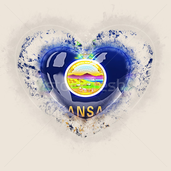 Stock photo: kansas state flag on a grunge heart. United states local flags