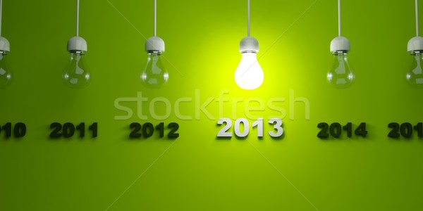 2013 New Year sign with light bulb Stock photo © MikhailMishchenko