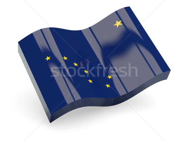 Ondulato icona Alaska bandiera 3D Foto d'archivio © MikhailMishchenko