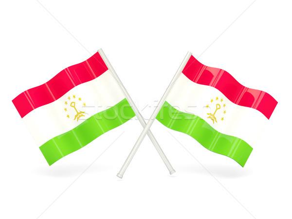 флаг Таджикистан два волнистый флагами изолированный Сток-фото © MikhailMishchenko