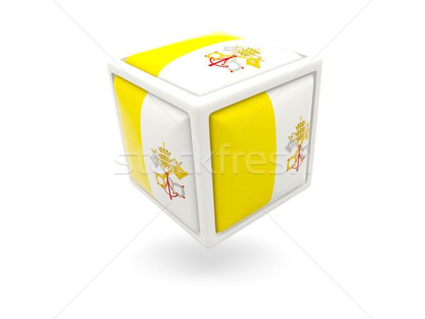 Bandera Ciudad del Vaticano cubo icono aislado blanco Foto stock © MikhailMishchenko