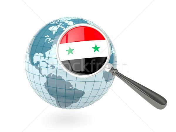 拡大された フラグ シリア 青 世界中 孤立した ストックフォト © MikhailMishchenko