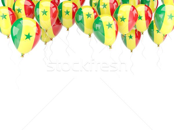 Léggömb keret zászló Szenegál izolált fehér Stock fotó © MikhailMishchenko