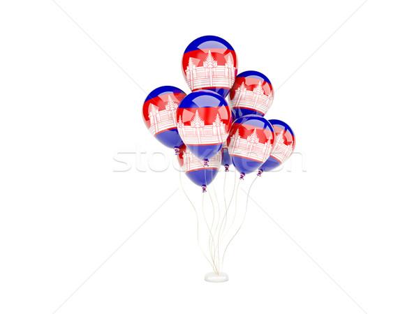 Vliegen ballonnen vlag Cambodja geïsoleerd witte Stockfoto © MikhailMishchenko