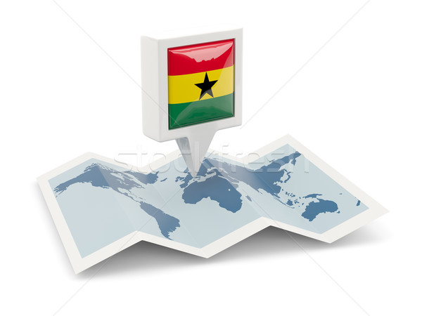 Square pin with flag of ghana on the map Stock photo © MikhailMishchenko