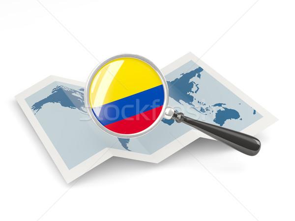 Bayrak Kolombiya harita beyaz Stok fotoğraf © MikhailMishchenko
