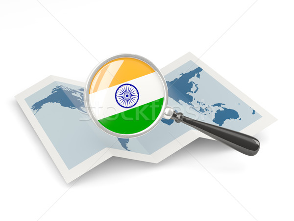 Magnified flag of india with map Stock photo © MikhailMishchenko