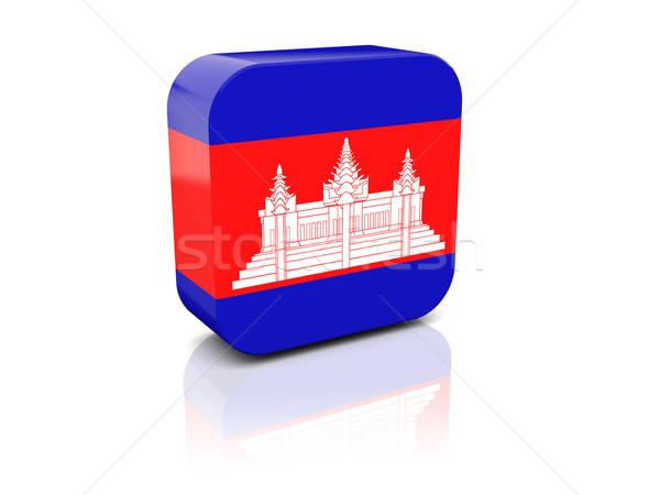 Vierkante icon vlag Cambodja reflectie witte Stockfoto © MikhailMishchenko