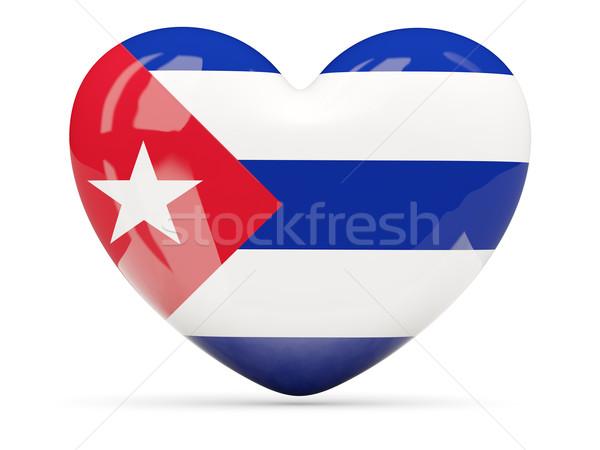 Heart shaped icon with flag of cuba Stock photo © MikhailMishchenko