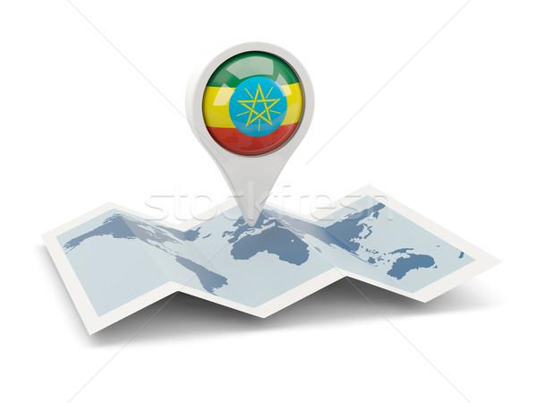 Pin banderą Etiopia Pokaż podróży biały Zdjęcia stock © MikhailMishchenko