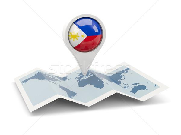 Broches pavillon Philippines carte Voyage blanche Photo stock © MikhailMishchenko
