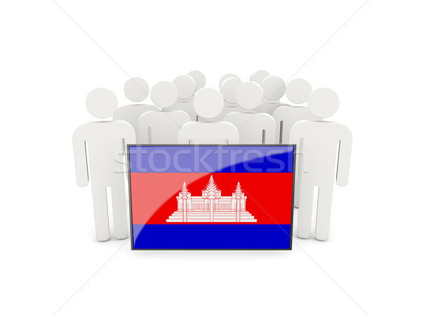 Pessoas bandeira Camboja isolado branco multidão Foto stock © MikhailMishchenko