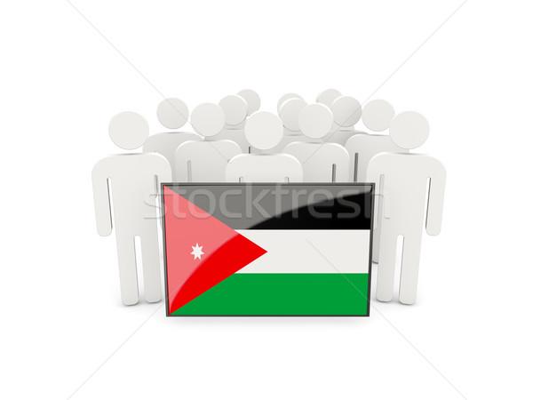 Pessoas bandeira Jordânia isolado branco multidão Foto stock © MikhailMishchenko