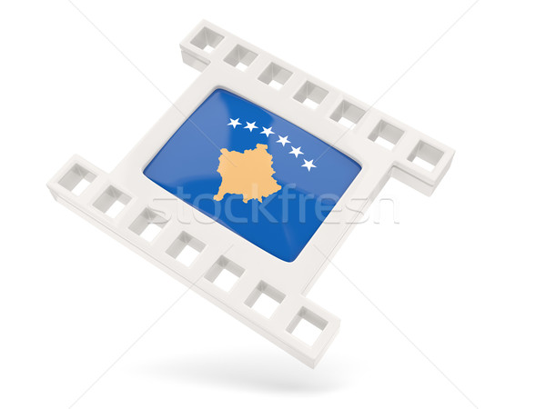 Filme ícone bandeira Kosovo isolado branco Foto stock © MikhailMishchenko