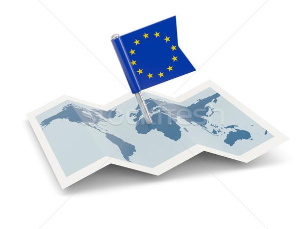 Kaart vlag europese unie geïsoleerd witte Stockfoto © MikhailMishchenko