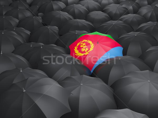 Parasol banderą Erytrea czarny parasole deszcz Zdjęcia stock © MikhailMishchenko