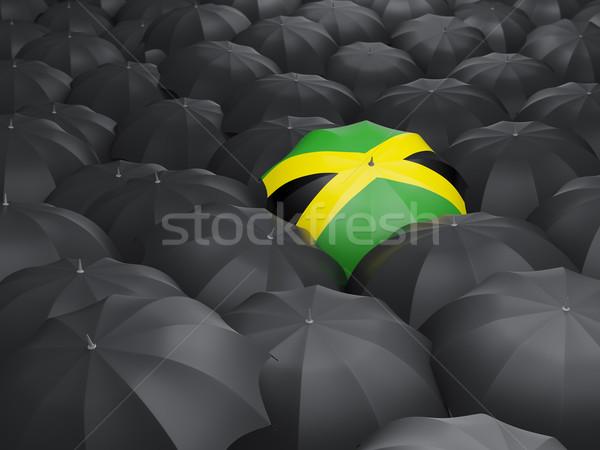 Paraplu vlag Jamaica zwarte parasols regen Stockfoto © MikhailMishchenko