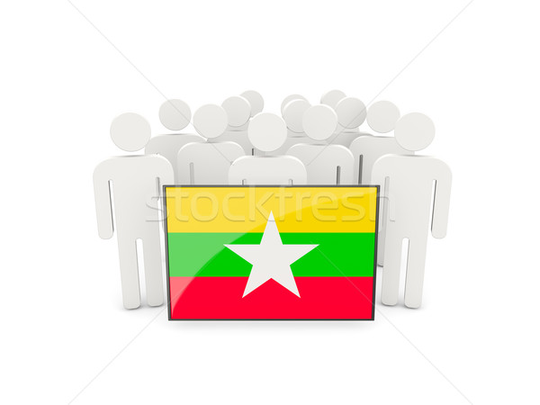 Personas bandera Myanmar aislado blanco multitud Foto stock © MikhailMishchenko