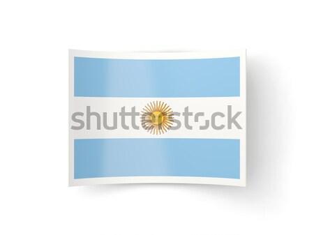 Cuadrados etiqueta bandera Argentina aislado blanco Foto stock © MikhailMishchenko