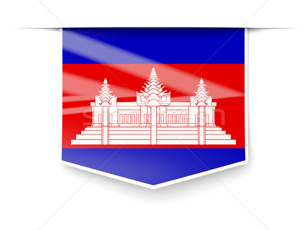 Square label with flag of cambodia Stock photo © MikhailMishchenko