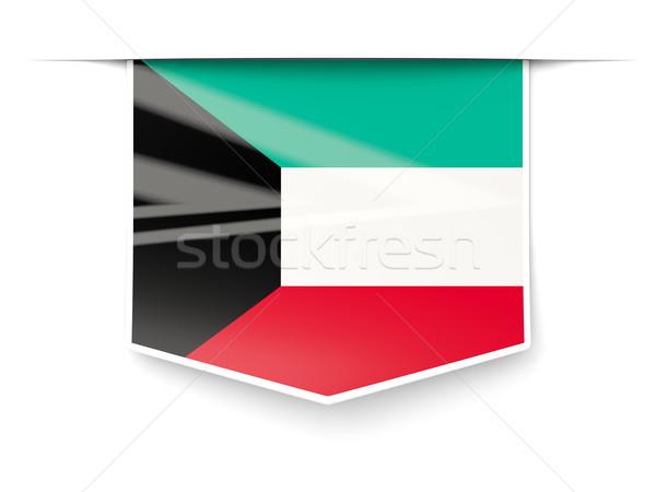 Piazza etichetta bandiera Kuwait isolato bianco Foto d'archivio © MikhailMishchenko