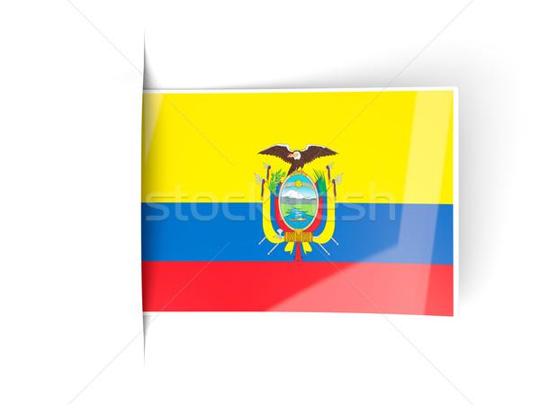 квадратный Label флаг Эквадор изолированный белый Сток-фото © MikhailMishchenko