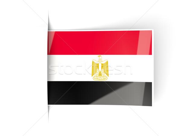 Tér címke zászló Egyiptom izolált fehér Stock fotó © MikhailMishchenko