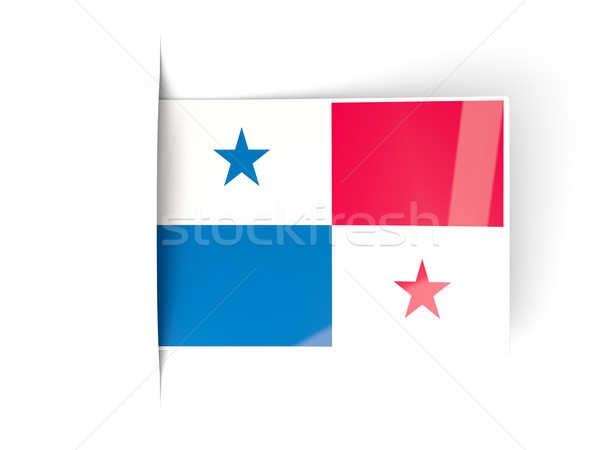 Kare etiket bayrak Panama yalıtılmış beyaz Stok fotoğraf © MikhailMishchenko
