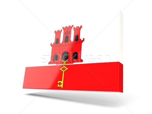 Placu ikona banderą gibraltar odizolowany biały Zdjęcia stock © MikhailMishchenko