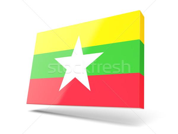 квадратный икона флаг Мьянма изолированный белый Сток-фото © MikhailMishchenko