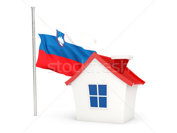 Casa bandeira Eslovenia isolado branco casa Foto stock © MikhailMishchenko