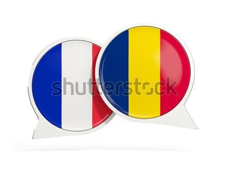 Etiqueta bandera Rumania aislado blanco viaje Foto stock © MikhailMishchenko