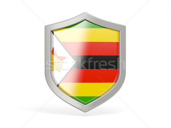 Pajzs ikon zászló Zimbabwe izolált fehér Stock fotó © MikhailMishchenko