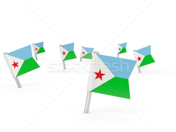 квадратный флаг Джибути изолированный белый стране Сток-фото © MikhailMishchenko